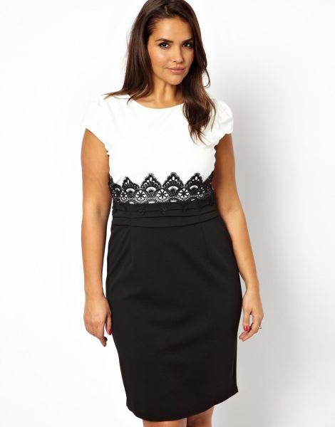 c0fc2defd Vestido de Renda Preto e Branco Plus Size cod:1270750 - ❤ Best ...